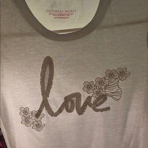 Victoria's Secret Love White tee shirt size: XS